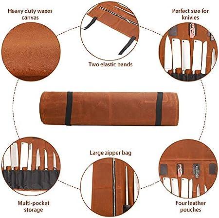 QEES - Bolsa para cuchillos de chef con 15 compartimentos, estuche de lona encerada, soporte para cuchillos duradero, bolsa multiusos para cuchillos