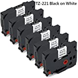 """JetSir 6 Pack Compatible Brother TZe221 TZe-221 TZ221 TZ-221 Label Tape Cartridge,Use on Brother P-Touch PT-D210 PT-D200 PT-1800 PT-D400 PT-1700 PT-1750 Label Maker,Black on White, 9mm x 8m/0.35"""" 26'"""