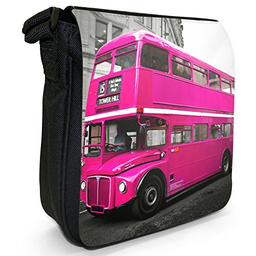 Double Size Small London Pink Decker Shoulder Black Bus Canvas Bag 7qnRpwdTx