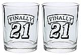 21st Birthday Shot Glass Finally 21 Funny Gift Shot Glasses 2-Pack Round ...
