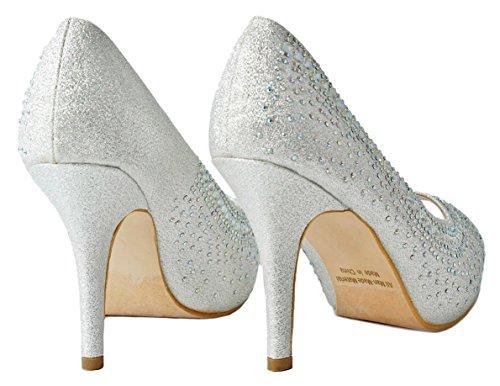 Platform Silver Toe Glossy F Classic Women Pumps Stiletto Dress Peep Heel 1 xzqtItp