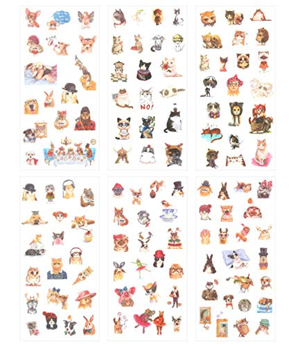 Cute Funny Cat Dog Rabbit Theme Washi Planner Sticker, Decorative Adhesive Sticker, Craft Scrapbooking Sticker Set for Diary, Album, Notebook, Bullet Journal, 12 Sheets/Pack (Fashion Animals) -