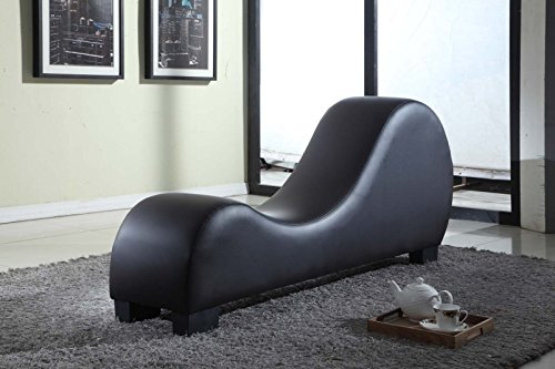 Container Direct CL-10 10 Container Furniture Direct Stretch Chaise Ultimate Faux Leather Curved Yoga and Lounge Chair, Black, ()