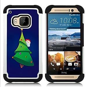 For HTC ONE M9 - Christmas Tree Picea Santa Green Beard Hat /[Hybrid 3 en 1 Impacto resistente a prueba de golpes de protecci????n] de silicona y pl????stico Def/ - Super Marley Shop -