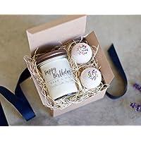 Birthday Gift Idea Birthday Cake themed Gift Set with Vanilla Cake Candle and Vanilla sprinkle bath bombs