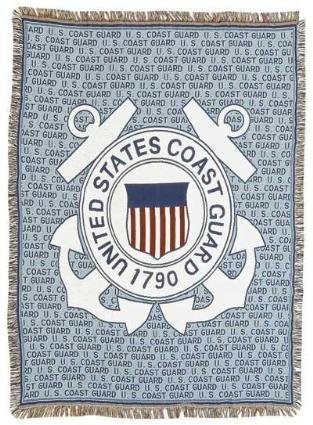 Coast Guard Afghan - Simply Home U.S. Coast Guard Military Pictorial Afghan Throw Tapestry 50