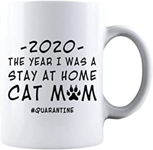 KROPSIS 2020 The Year I Was A Stay At Home Cat Mom Quarantine Xmas Gift for Family and Friends Funny Sarcastic Ceramic Coffee Mug White