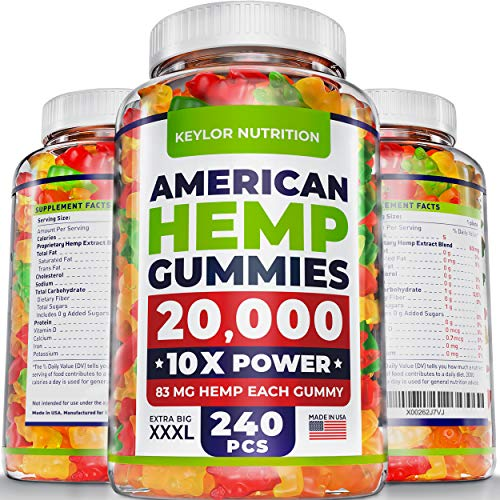 (KEYLOR NUTRITION Premium Hemp Gummies - 20000 MG - All Natural Ingredients - Relief for Stress, Inflammation, Sleep, Anxiety, Depression - Vitamins & Omega 3,6,9 - Made in the USA - 240 pcs)