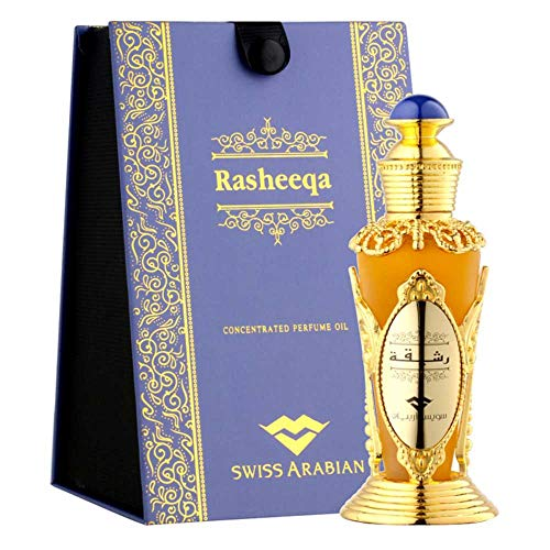 RASHEEQA Perfume Oil for Women 20mL Charming Oriental Garden Full of Flowers in Bloom Rose, Fresh Greens, and Jasmine with a Musk, Sandalwood and Cedarwood Base Body Oil by Artisan Swiss