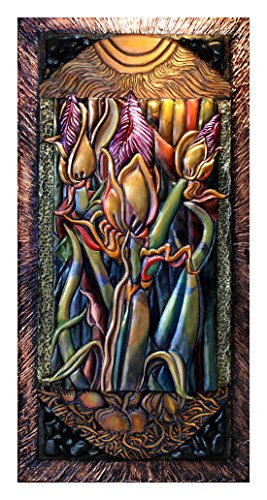 Sculpture Garden Iris Metal (Fine Artist Francesca Galliano Original Creation: Wood Carved Copper Forged Patinaed Brass Mixed Media 3D Assemblage Wall Sculpture Artwork - BHE Series Iris Buds with Sun Shining)