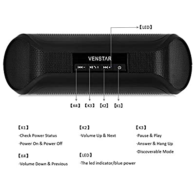 Wireless Speaker, Portable Bluetooth Stereo Speaker with 2 X 3w Surround Sound Boombox Buddy Speaker Ultra Bass Subwoofer Speaker, NFC Function Mic for All Phones and Tablet Iphone Samsung Nexus Laptops Computers Mp3 Player (Black)