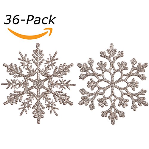 Sea Team Plastic Christmas Glitter Snowflake Ornaments Christmas Tree Decorations, 4-inch, Set of 36, Pale Gold