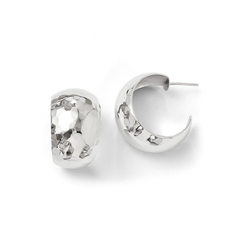 Rhodium Plated Sterling Silver Wide Polished Hammered J Hoop Earrings