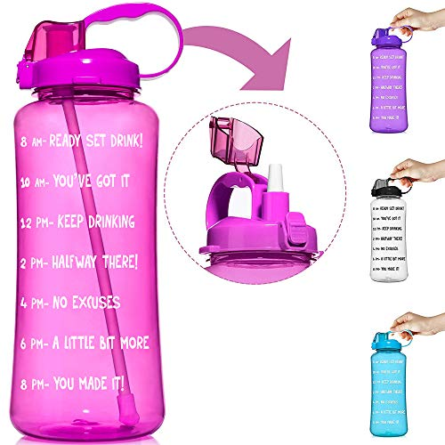 HydroMATE 3L & 1.5L Straw Motivational Water Bottle Time Marker Large BPA Free Jug Handle Time Marked Drink Marking Measures Track Daily Water Intake Hydro MATE 128 oz 64 oz (3 Liter, Pink)