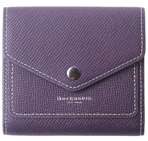 Borgasets Women's RFID Blocking Small Compact Bifold Leather Pocket Wallet Ladies Mini Purse (Crosshatch Purple)