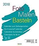 Foto-Malen-Basteln weiß groß 2018: Do-it-yourself Fotokalender zum Selbstgestalten. Hochwertiger Bastelkalender mit festem Fotokarton. Format: 30 x 35 cm