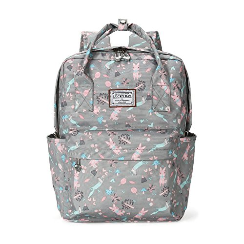 Print Canvas Laptop Computer (Casual Daypack Floral School Travel Laptop Backpack for Teenage Girls (Gray))