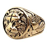 gold lion head ring - HAMANY Jewelry Men's Stainless Steel Ring Lion Head Shield Biker Vintage,Gold,Size 11