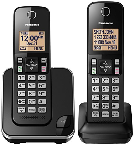 PANASONIC Expandable Cordless Phone System with Amber Backlit Display and Call Block - 2 Handsets - KX-TGC352B (Black) (Best Cell Phone Deals Canada)