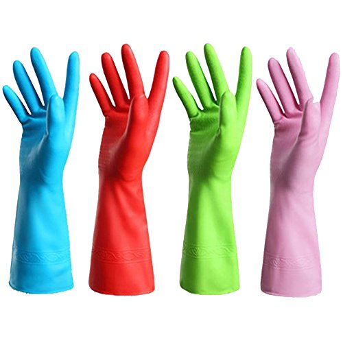 Set of 4 Pairs - Reusable Waterproof Household Gloves for Kitchen Dish Washing Laundry Cleaning, Medium (4 Colors)