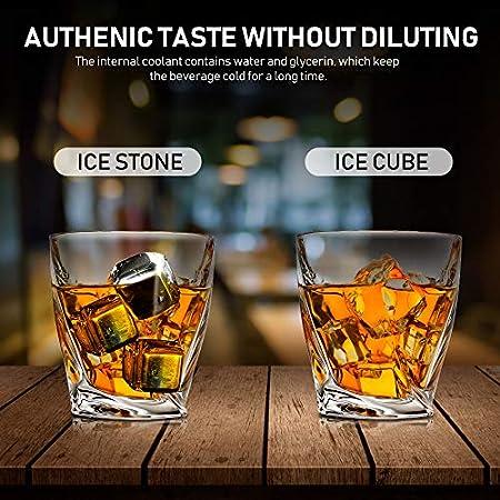 Whisky Piedras, Cubitos de Hielo Acero Inoxidable-Alta Tecnología de Refrigeración, 8 cubos de hielo reutilizables de acero inoxidable, para accesorios de bar,whisky Vodka y todas las bebidas