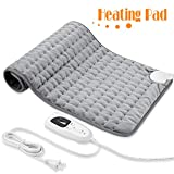 Heating Pad, Electric Heat Pad for Back Pain and Cramps Relief - Electric Fast Heat Pad with 6 Heat Settings Moist Heat Therapy Options -Auto Shut Off- Machine Washable 12' x 24'