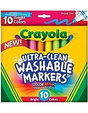 حافظة تتضمن 8 اقلام تلوين من كرايولا أقلام تعليم كولور ماكس بخط عريض وبراق ويمكن مسحه للاطفال