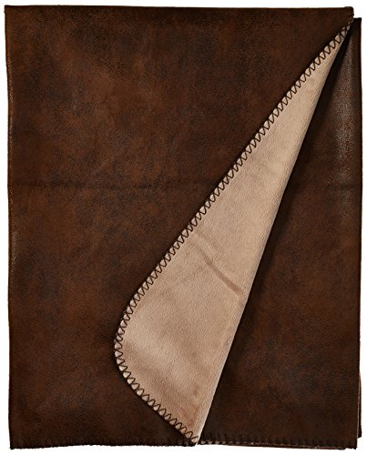Faux Microfiber Leather (Carstens Wyoming Faux Leather with Micro Fleece Throw Blanket)