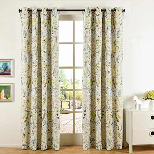 Cosics Grommet Curtains & Window Treatments, 52 by 84 Inch Room Darkening Thermal Insulated Blackout Window Curtain Panel, 2 Pcs Floral Printed Ring Top Curtain Drape Drapery