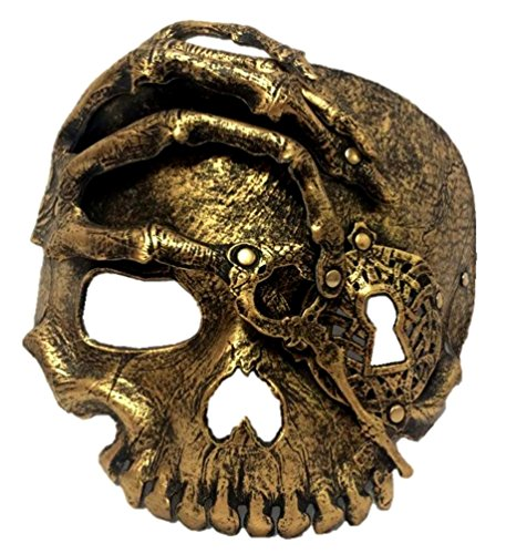 Pirate's Gold Lock and Key Skeleton Half Mask Adult Mens Womens Skull Steampunk (Lock And Key Costume)