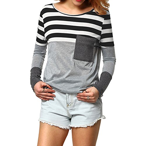 Fancathy Women's Stripe T-Shirt Long Sleeve Patchwork Round Neck Blouse Tops With Pocket For Spring Summer Black