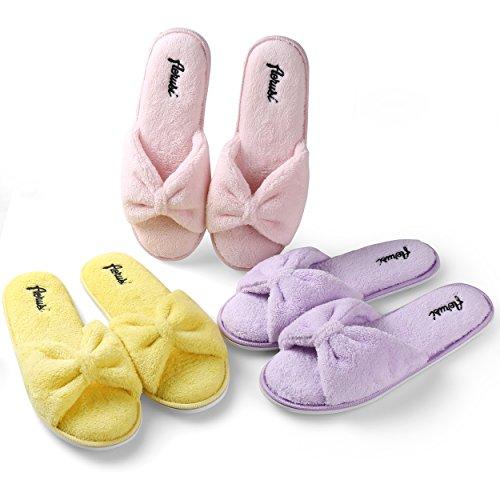Aerusi Womens Plush Fleece Open Toe Memory Foam Bow Spa Slip On Slippers Bedroom Indoor House Shoes