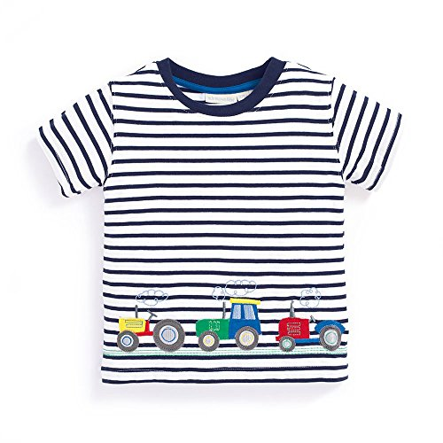 OHBABYKA Baby Boys Summer Cotton Short Sleeve Tops,Character Applique (2T, (Truck Applique T-shirt)