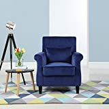 Classic Scroll Arm Velvet Fabric Living Room Armchair (Navy)