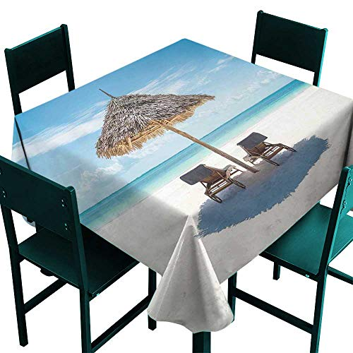 All of better Seaside Clamps for Picnic Tables Wooden Sun Loungers Facing Eastern Ocean Under a Thatched Umbrella in Zanzibar Turquoise Cream Tablecloth 4 Seater W 54