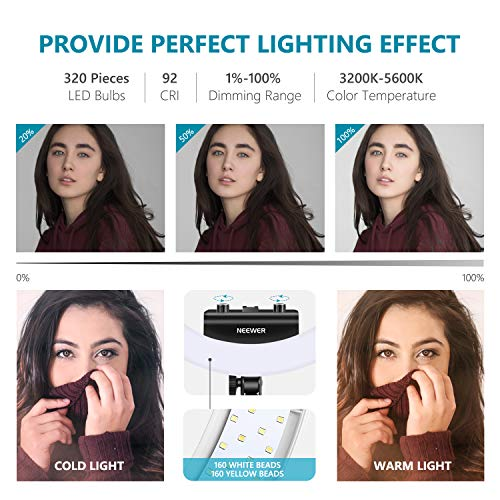 Neewer Ring Light Kit [Upgraded Version-1.8cm Ultra Slim] - 18 inches, 3200-5600K, Dimmable LED Ring Light with Light Stand, Rotatable Phone Holder, Hot Shoe Adapter for Portrait Makeup Video Shooting by Neewer (Image #2)