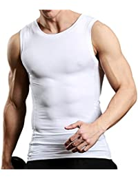 Men's Sleeveless Muscle Tank Top Slimming Compression Shirt Cool Dry Baselayer Undershirt