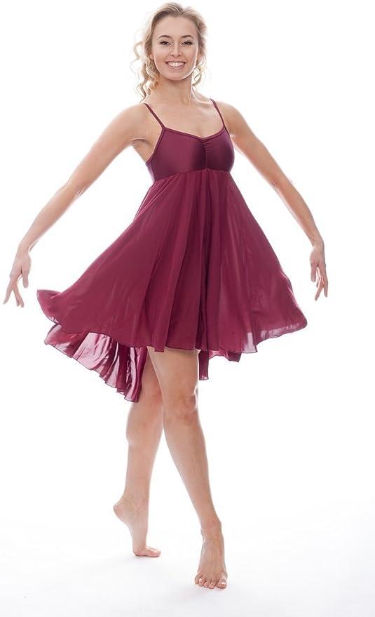 Katz Dancewear Ladies Girls Burgundy Lyrical Dress Contemporary Ballet Modern Dance Ballroom Costume