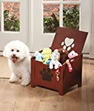 Pet Dog Cat Toy Box Paw Print Walnut Brown Wooden Brand New