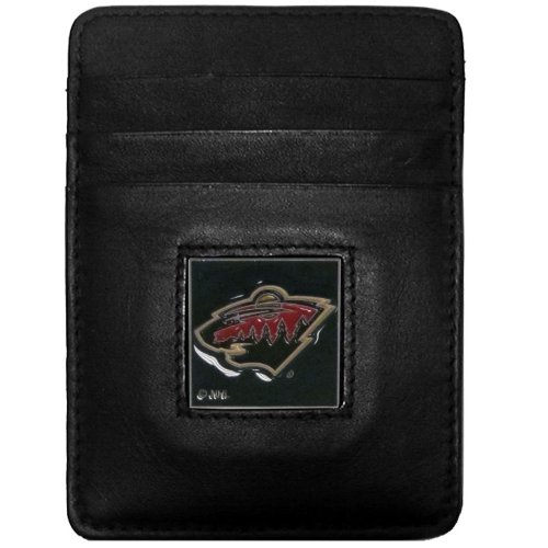 (NHL Minnesota Wild Genuine Leather Money Clip/Cardholder Wallet)