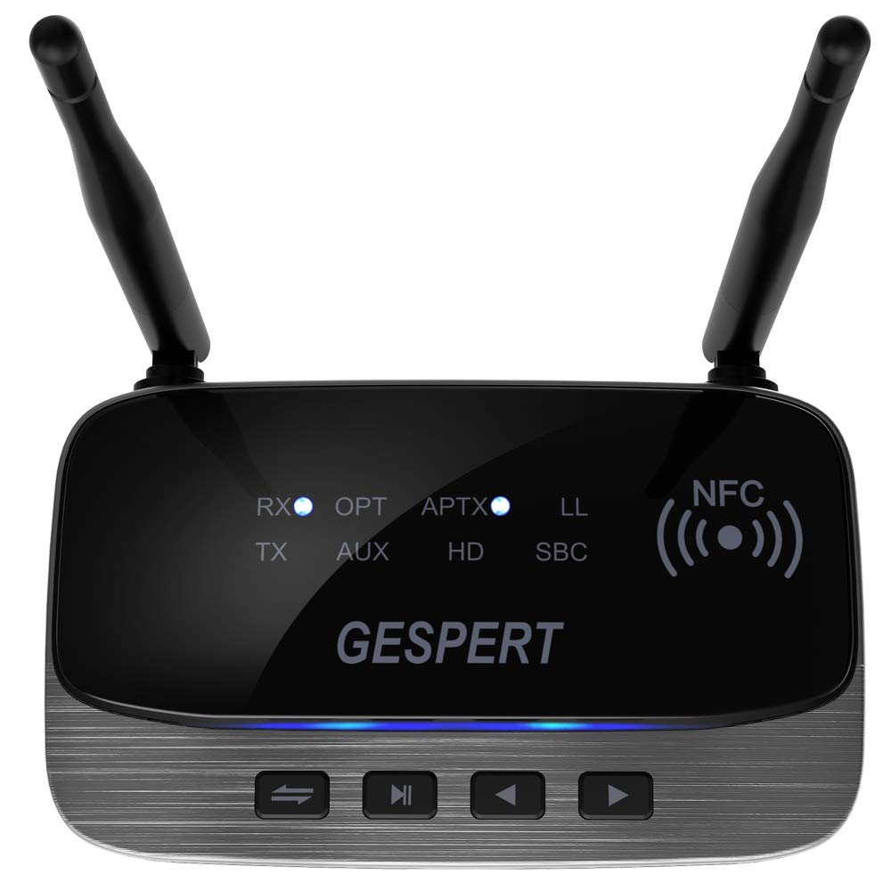 GESPERT Bluetooth Adapter 5.0 Transmitter and Receiver 80 m Range Wireless Audio Bluetooth Adapter with Dual Antenna aptX LL/&HD Optical RCA AUX 3.5 mm for Home Stereo System TV PC Headphones Speaker