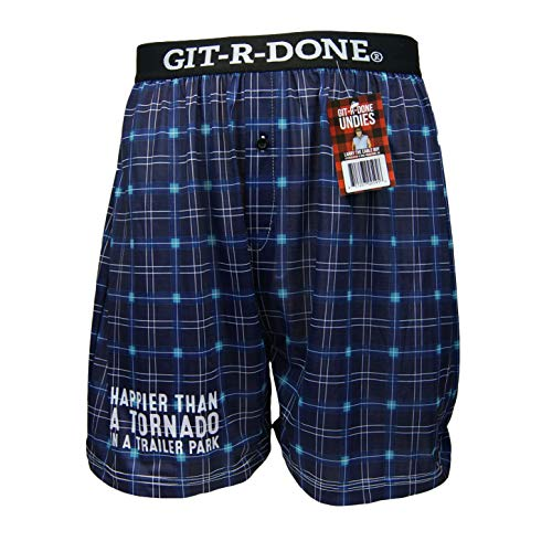BRIEF INSANITY Larry The Cable Guy Git-R-Done Boxer Shorts   Comfortable Famous Slogan Funny Underwear for Guys (Colors May Vary) (X-Large, Happier Than A Tornado in A Trailer Park) ()