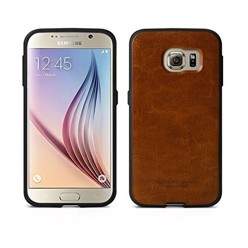 [Tridea] Anti-Shock Samsung Galaxy S6 Power Guard Basic Premium Leather Style [Brown] TPU Case for Samsung Galaxy S6 (2015)