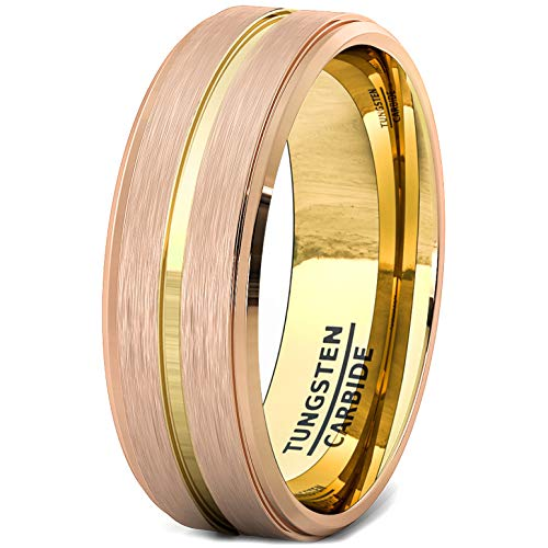 Duke Collections 8mm Tungsten Ring Rose Gold Brushed Step Edge with 18k Plated Gold Groove Comfort Fit (7.5)