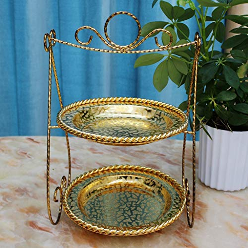 Creative Bracket Round Two-layer Cake Stand European Double-decker Living Room Office Dessert Sugar Dried Fruit Plate Afternoon Tea Alloy Snack Plate Gold