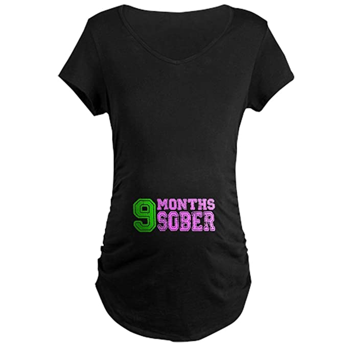 4d63fb3480a CafePress 9 Months Sober - Pregnancy - Neon Maternity Tee at Amazon ...