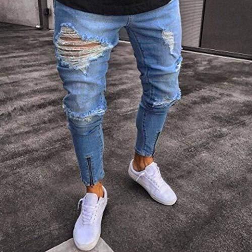 Uomo Slim Con Da Nero Fit Fori Blu Aderenti In Distrutti m Stretti Denim Skinny Jeans gwFaqF