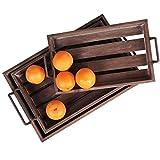 MyGift Distressed Wood Slat Nesting Breakfast Serving Trays w/Antique-Style Metal Handles, Set of 3, Brown