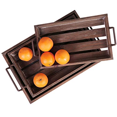 - MyGift Distressed Wood Slat Nesting Breakfast Serving Trays w/Antique-Style Metal Handles, Set of 3, Brown