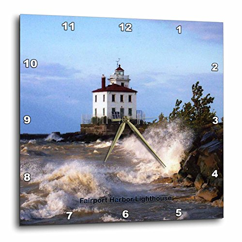 Fairport Harbor Lighthouse (3dRose Fairport Harbor Lighthouse Looking Over Lake Erie - Wall Clock, 15 by 15-Inch (dpp_61705_3))